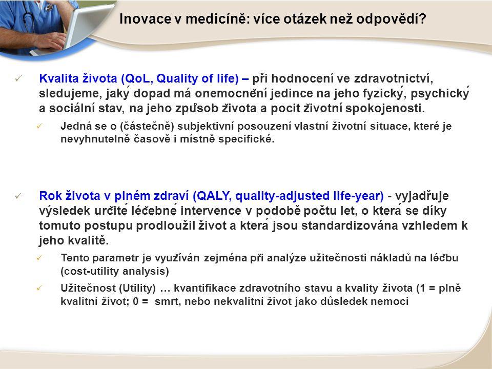 Inovace v medicíně: více otázek než odpovědí? Kvalita života (QoL, Quality of life) – při hodnocení ve zdravotnictví, sledujeme, jaký dopad má onemo