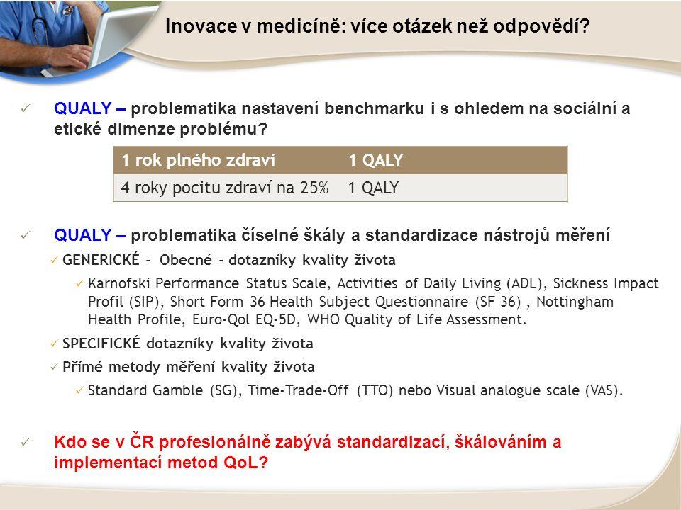 Inovace v medicíně: více otázek než odpovědí? QUALY – problematika nastavení benchmarku i s ohledem na sociální a etické dimenze problému? QUALY – pro
