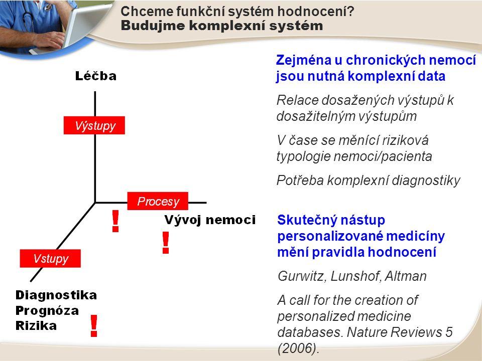 Chceme funkční systém hodnocení? Budujme komplexní systém Zejména u chronických nemocí jsou nutná komplexní data Relace dosažených výstupů k dosažitel