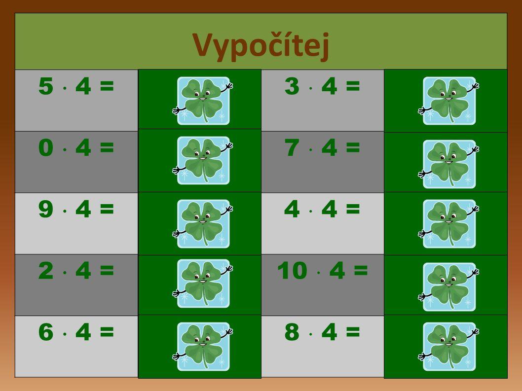 12 32 20 8 24 28 4 16 32, 36, 40 Počítáme s tygříkem: 3  4 = 7  4 = 5  4 = 8  4 = 9  4 = 6  4 = 2  4 = 10  4 = 4  4 = 1  4 = Vyjmenujte násobky čísla 4 větší než 30.