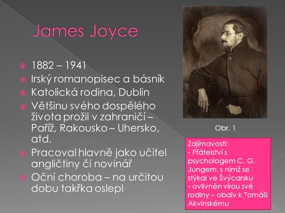  1882 – 1941  Irský romanopisec a básník  Katolická rodina, Dublin  Většinu svého dospělého života prožil v zahraničí – Paříž, Rakousko – Uhersko, atd.