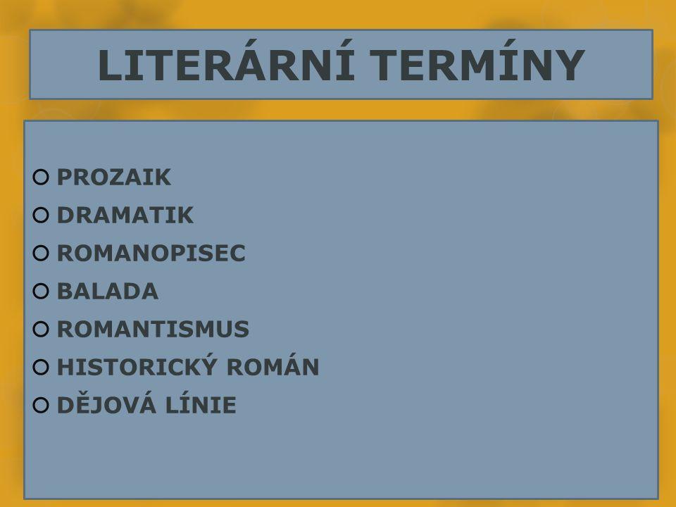 LITERÁRNÍ TERMÍNY  PROZAIK  DRAMATIK  ROMANOPISEC  BALADA  ROMANTISMUS  HISTORICKÝ ROMÁN  DĚJOVÁ LÍNIE