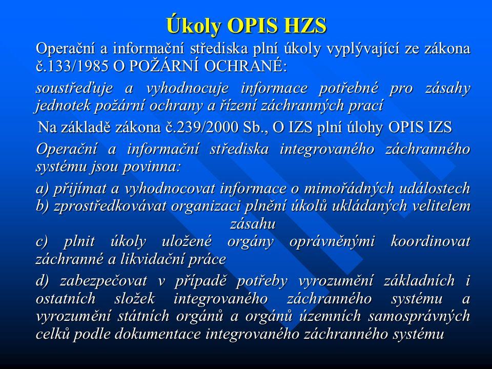 Úkoly OPIS HZS Operační a informační střediska integrovaného záchranného systému jsou oprávněna a) povolávat a nasazovat síly a prostředky hasičského záchranného sboru a jednotek požární ochrany, dalších složek integrovaného záchranného systému podle poplachového plánu integrovaného záchranného systému nebo podle požadavků velitele zásahu; při tom dbají, aby uvedené požadavky nebyly v rozporu s rozhodnutím příslušného funkcionáře hasičského záchranného sboru, hejtmana nebo Ministerstva vnitra při jejich koordinaci záchranných a likvidačních prací b) vyžadovat a organizovat pomoc (§ 20), osobní a věcnou pomoc podle požadavků velitele zásahu ( § 19) c) provést při nebezpečí z prodlení varování obyvatelstva na ohroženém území, pokud zvláštní právní předpis nestanoví jinak Plní další úkoly vyplývající ze zákona o vodách č.