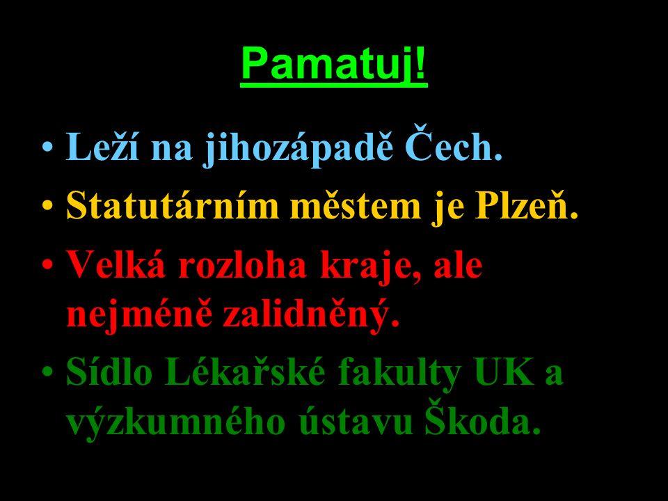 Pamatuj! Leží na jihozápadě Čech. Statutárním městem je Plzeň. Velká rozloha kraje, ale nejméně zalidněný. Sídlo Lékařské fakulty UK a výzkumného ústa