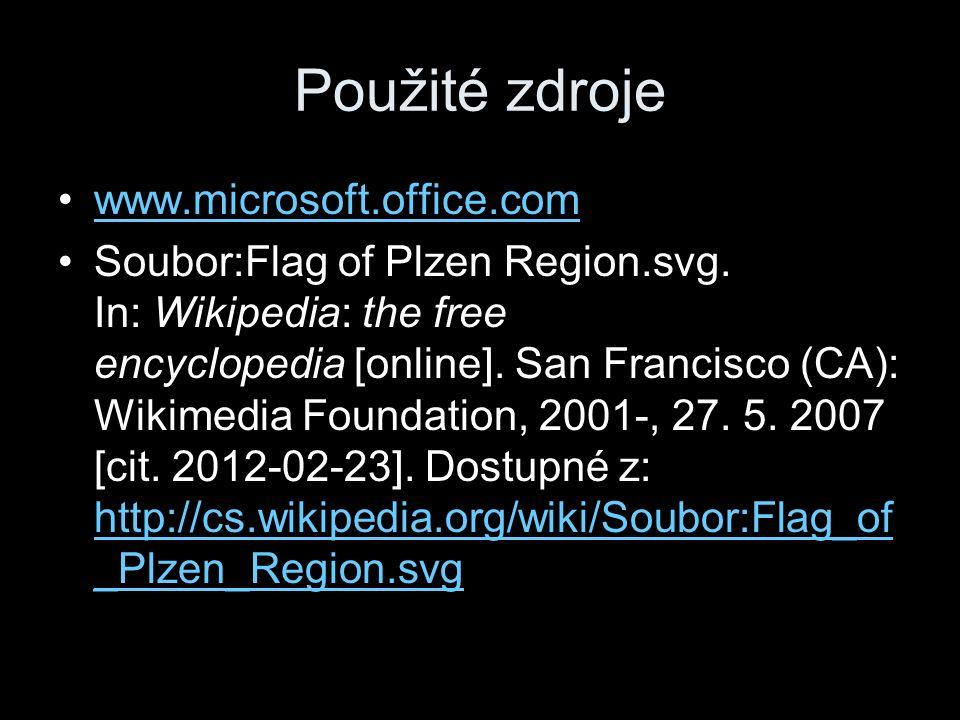 Použité zdroje www.microsoft.office.com Soubor:Flag of Plzen Region.svg.