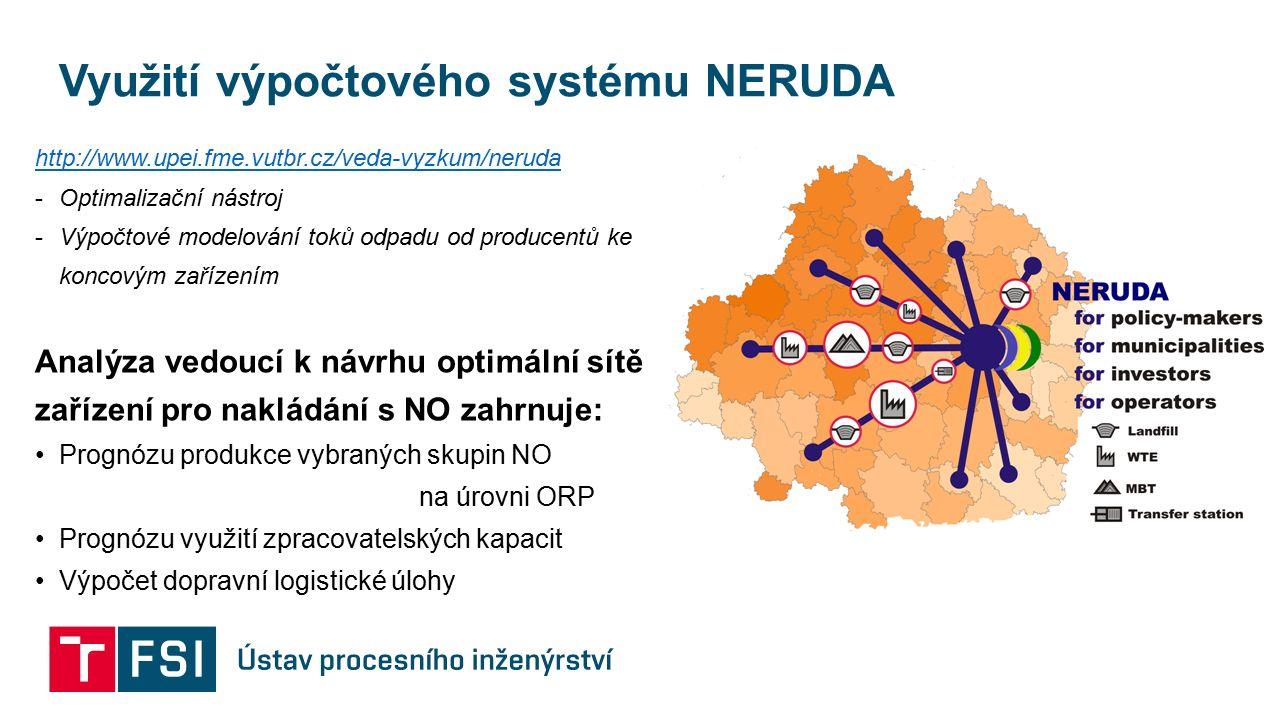 Využití výpočtového systému NERUDA http://www.upei.fme.vutbr.cz/veda-vyzkum/neruda -Optimalizační nástroj -Výpočtové modelování toků odpadu od producentů ke koncovým zařízením Analýza vedoucí k návrhu optimální sítě zařízení pro nakládání s NO zahrnuje: Prognózu produkce vybraných skupin NO na úrovni ORP Prognózu využití zpracovatelských kapacit Výpočet dopravní logistické úlohy