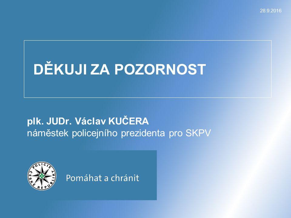 DĚKUJI ZA POZORNOST plk. JUDr. Václav KUČERA náměstek policejního prezidenta pro SKPV 28.9.2016