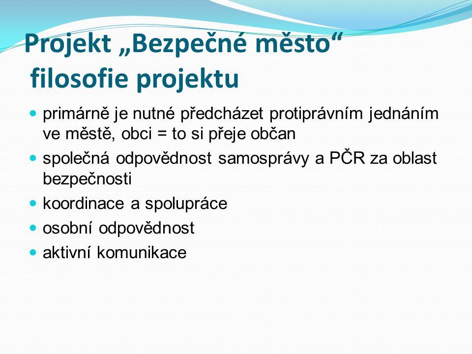 """Projekt """"Bezpečné město nástroje projektu """"Plzeň rozdělení městských obvodů na okrsky (60) zařazení konkrétních policistů, strážníků a zastupitelů do okrsků odstranění anonymity, nastavení osobní odpovědnosti aktivní obousměrná komunikace """"partneři projektu- občan (průzkum k pocitu bezpečí) vytvoření komunikačních prostředků (telefonní linky, informační schránky, informační brožury a letáky….) samostatný webový portál Bezpečné město (www.bezpecnemesto.eu) spolupráce s KÚ PK – """"Plzeňský kraj – Bezpečný kraj"""