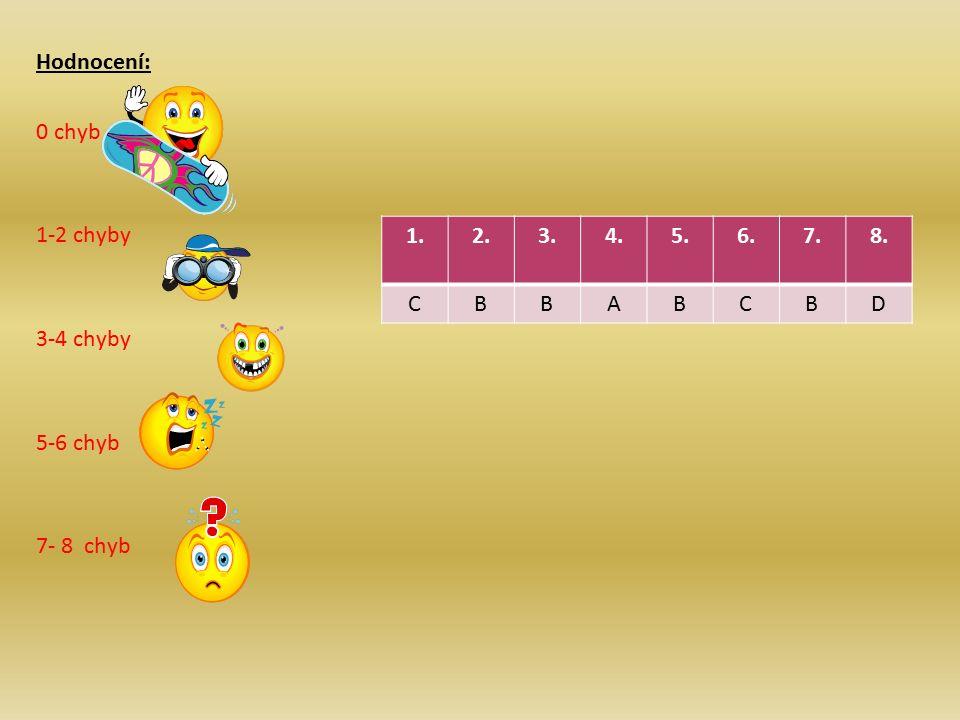 1.2.3.4.5.6.7.8. CBBABCBD Hodnocení: 0 chyb 1-2 chyby 3-4 chyby 5-6 chyb 7- 8 chyb