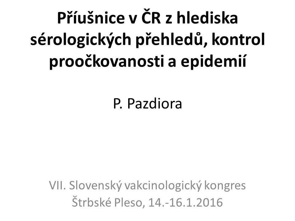 Příušnice v ČR z hlediska sérologických přehledů, kontrol proočkovanosti a epidemií P.