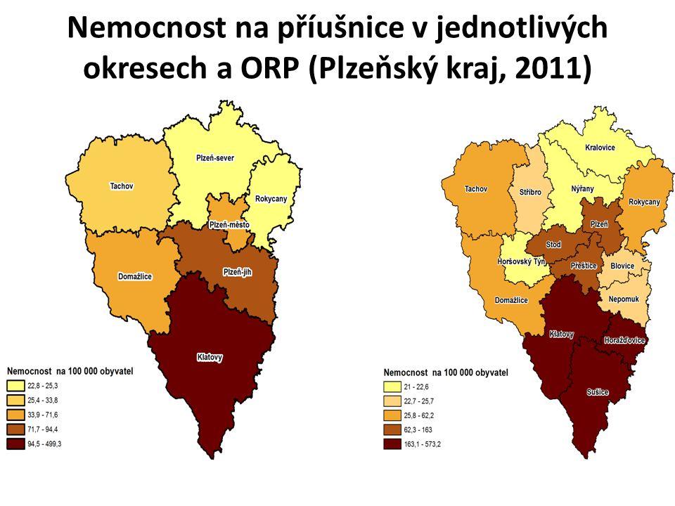 Nemocnost na příušnice v jednotlivých okresech a ORP (Plzeňský kraj, 2011)