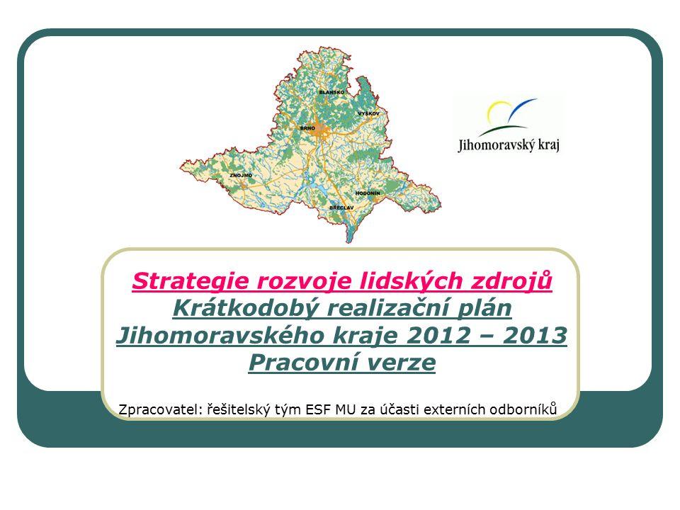 Strategie rozvoje lidských zdrojů Krátkodobý realizační plán Jihomoravského kraje 2012 – 2013 Pracovní verze Zpracovatel: řešitelský tým ESF MU za účasti externích odborníků