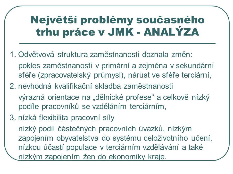 Největší problémy současného trhu práce v JMK - ANALÝZA 1.