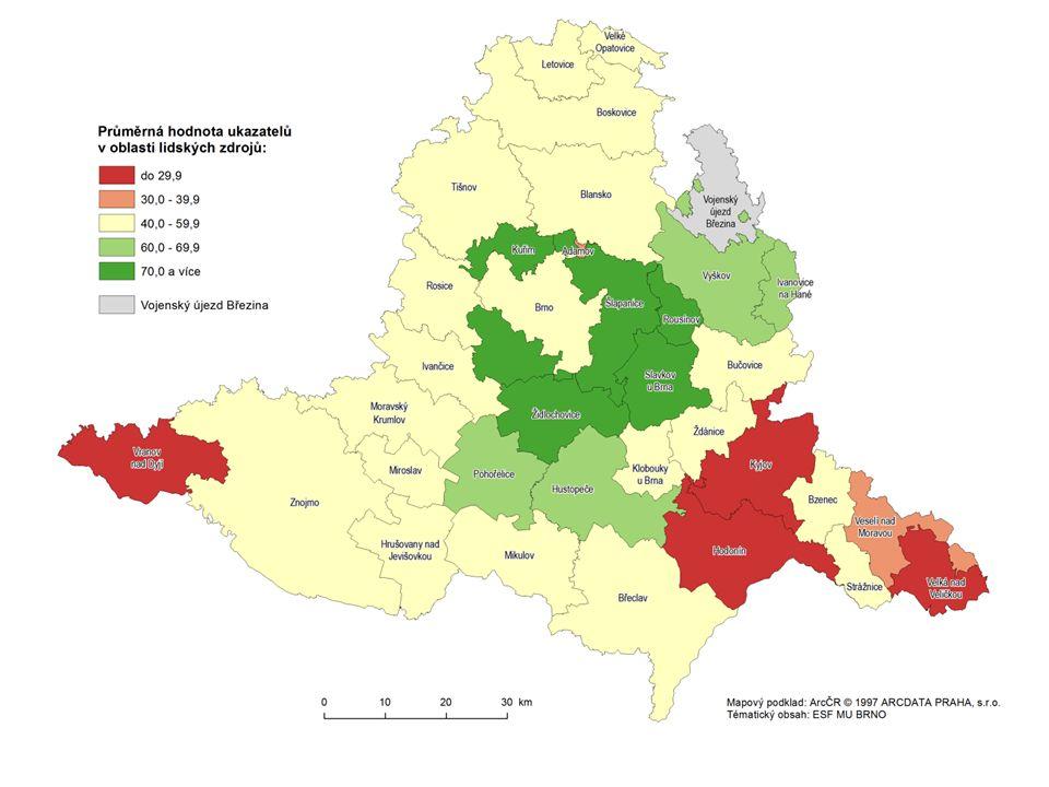 Územní disparity – úhrnná disparita v lidských zdrojích dle Správních obvodů obcí s pověřením obecním úřadem