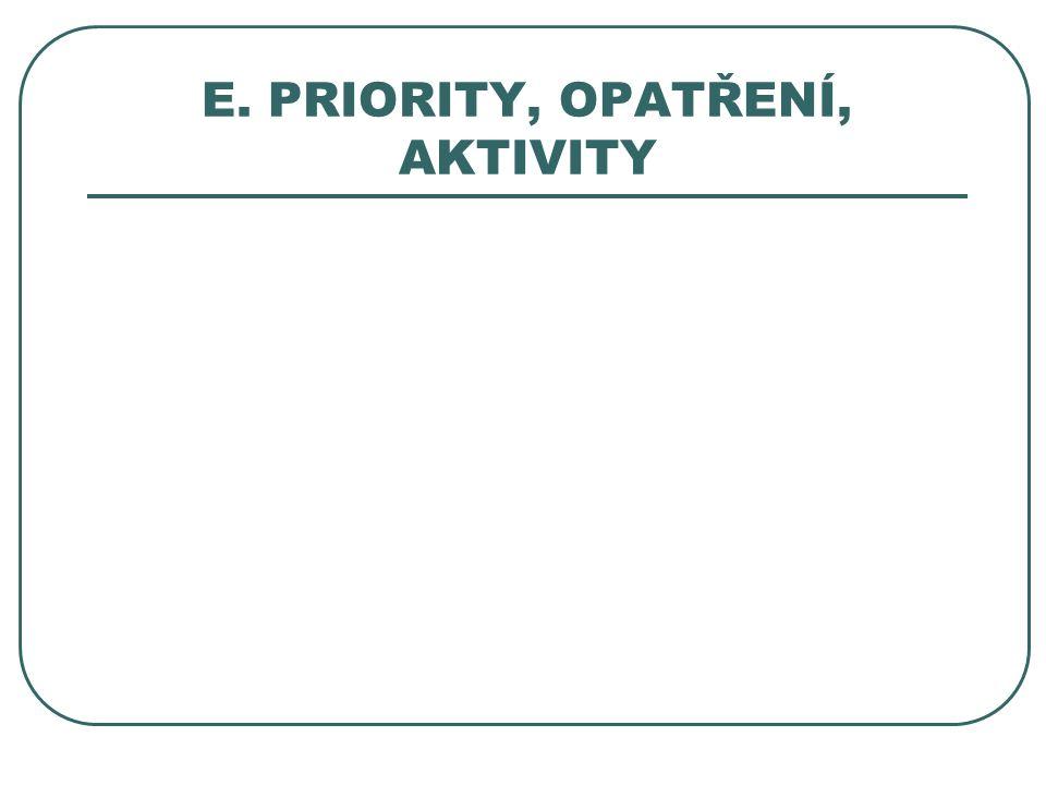 E. PRIORITY, OPATŘENÍ, AKTIVITY