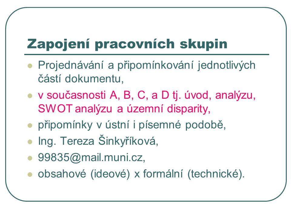 Zapojení pracovních skupin Projednávání a připomínkování jednotlivých částí dokumentu, v současnosti A, B, C, a D tj.