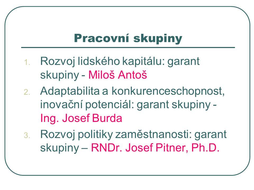 Pracovní skupiny 1. Rozvoj lidského kapitálu: garant skupiny - Miloš Antoš 2.