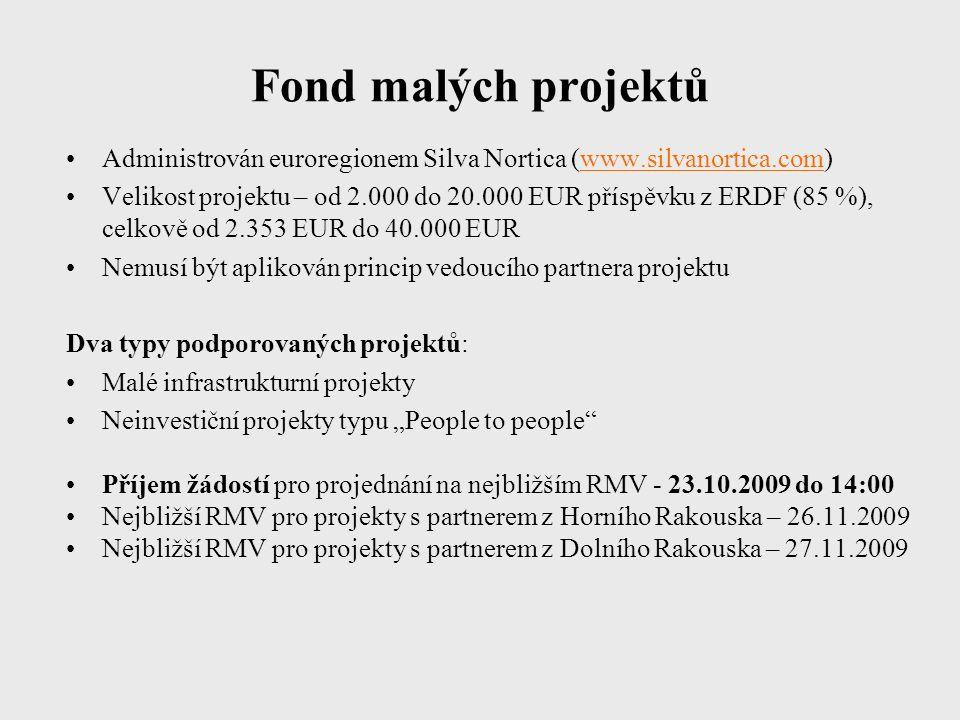 """Fond malých projektů Administrován euroregionem Silva Nortica (www.silvanortica.com) Velikost projektu – od 2.000 do 20.000 EUR příspěvku z ERDF (85 %), celkově od 2.353 EUR do 40.000 EUR Nemusí být aplikován princip vedoucího partnera projektu Dva typy podporovaných projektů: Malé infrastrukturní projekty Neinvestiční projekty typu """"People to people Příjem žádostí pro projednání na nejbližším RMV - 23.10.2009 do 14:00 Nejbližší RMV pro projekty s partnerem z Horního Rakouska – 26.11.2009 Nejbližší RMV pro projekty s partnerem z Dolního Rakouska – 27.11.2009"""