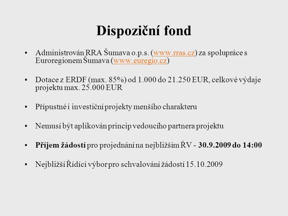 Dispoziční fond Administrován RRA Šumava o.p.s.