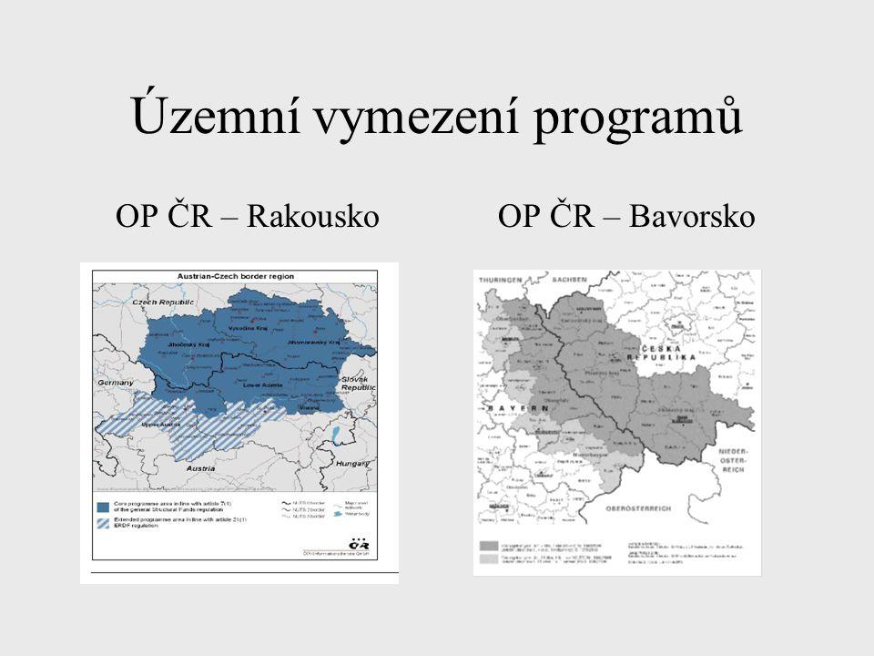 Územní vymezení programů OP ČR – RakouskoOP ČR – Bavorsko