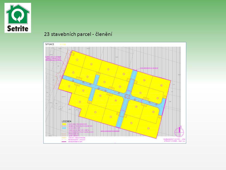 23 stavebních parcel - členění