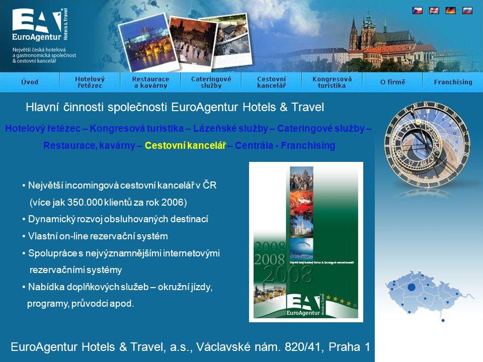 Hlavní činnosti společnosti EuroAgentur Hotels & Travel Hotelový řetězec – Kongresová turistika – Lázeňské služby – Cateringové služby – Restaurace, kavárny – Cestovní kancelář – Centrála - Franchising Největší incomingová cestovní kancelář v ČR (více jak 350.000 klientů za rok 2006) Dynamický rozvoj obsluhovaných destinací Vlastní on-line rezervační systém Spolupráce s nejvýznamnějšími internetovými rezervačními systémy Nabídka doplňkových služeb – okružní jízdy, programy, průvodci apod.