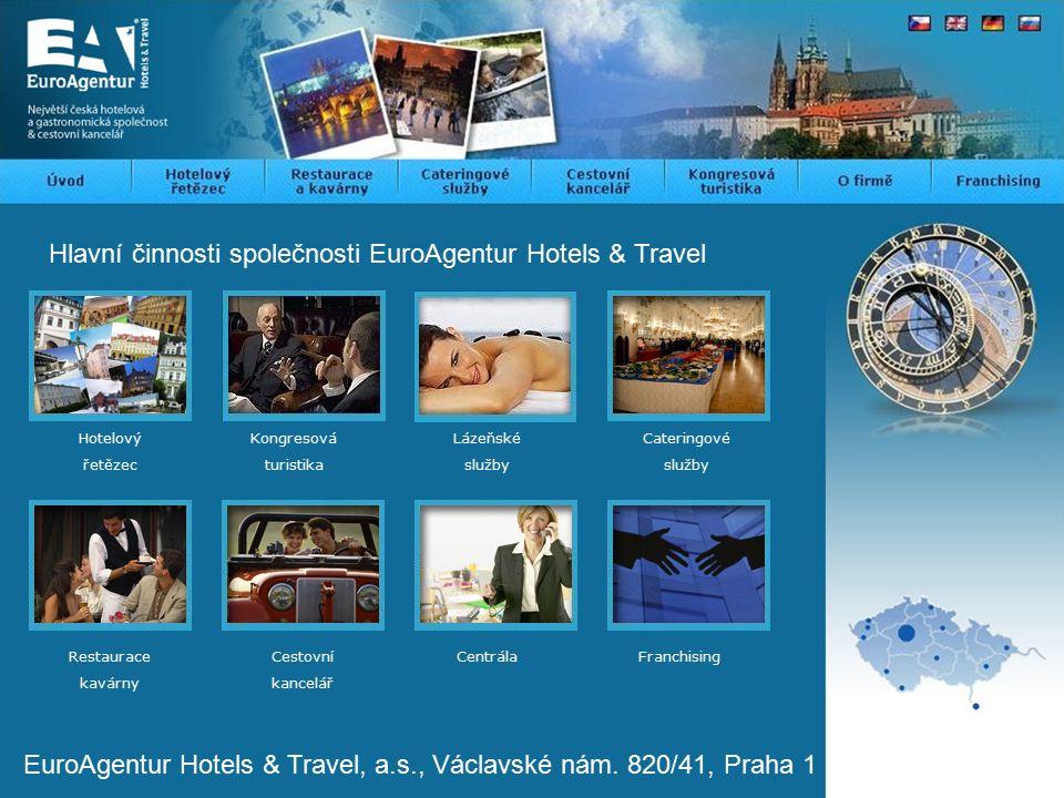Hlavní činnosti společnosti EuroAgentur Hotels & Travel Kongresová turistika Lázeňské služby Hotelový řetězec Cateringové služby EuroAgentur Hotels & Travel, a.s., Václavské nám.