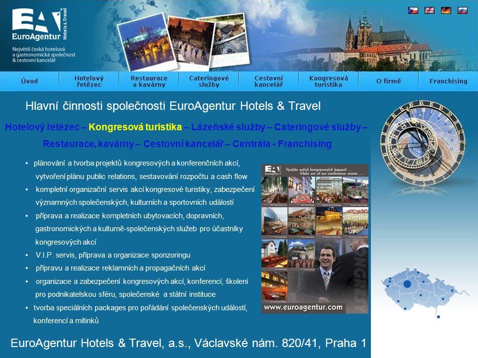 Hlavní činnosti společnosti EuroAgentur Hotels & Travel Hotelový řetězec – Kongresová turistika – Lázeňské služby – Cateringové služby – Restaurace, kavárny – Cestovní kancelář – Centrála - Franchising plánování a tvorba projektů kongresových a konferenčních akcí, vytvoření plánu public relations, sestavování rozpočtu a cash flow kompletní organizační servis akcí kongresové turistiky, zabezpečení významných společenských, kulturních a sportovních událostí příprava a realizace kompletních ubytovacích, dopravních, gastronomických a kulturně-společenských služeb pro účastníky kongresových akcí V.I.P.