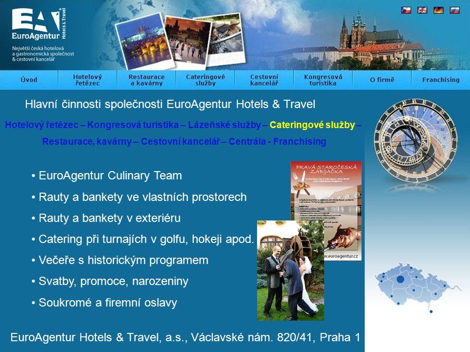 Hlavní činnosti společnosti EuroAgentur Hotels & Travel Hotelový řetězec – Kongresová turistika – Lázeňské služby – Cateringové služby – Restaurace, kavárny – Cestovní kancelář – Centrála - Franchising EuroAgentur Hotels & Travel, a.s., Václavské nám.