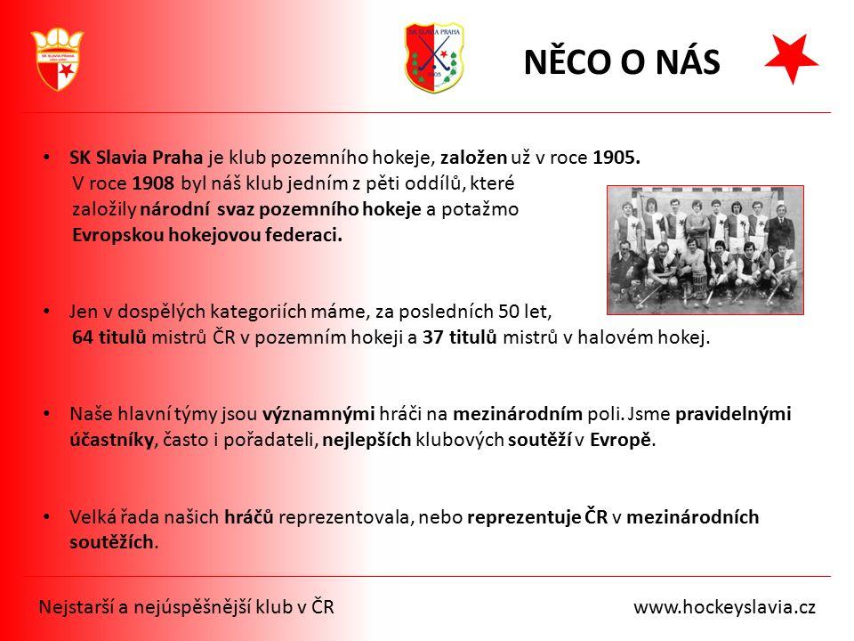 NĚCO O NÁS SK Slavia Praha je klub pozemního hokeje, založen už v roce 1905. V roce 1908 byl náš klub jedním z pěti oddílů, které založily národní sva