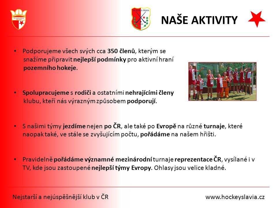 Nejstarší a nejúspěšnější klub v ČR www.hockeyslavia.cz NAŠE AKTIVITY Podporujeme všech svých cca 350 členů, kterým se snažíme připravit nejlepší podm