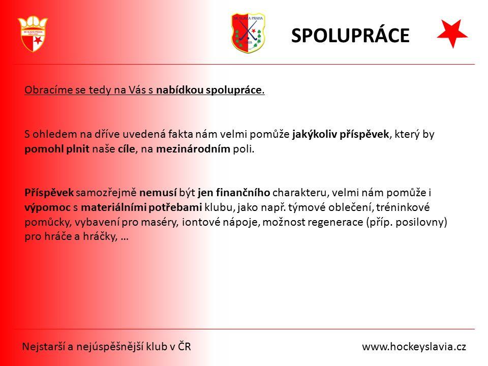 Nejstarší a nejúspěšnější klub v ČR www.hockeyslavia.cz SPOLUPRÁCE Obracíme se tedy na Vás s nabídkou spolupráce. S ohledem na dříve uvedená fakta nám