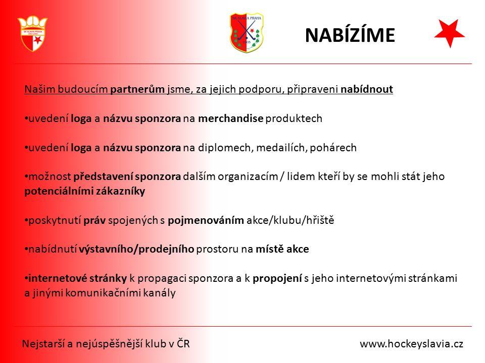 Nejstarší a nejúspěšnější klub v ČR www.hockeyslavia.cz Našim budoucím partnerům jsme, za jejich podporu, připraveni nabídnout uvedení loga a názvu sp