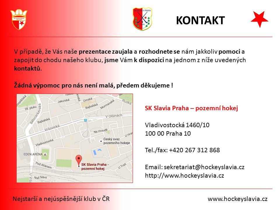 Nejstarší a nejúspěšnější klub v ČR www.hockeyslavia.cz V případě, že Vás naše prezentace zaujala a rozhodnete se nám jakkoliv pomoci a zapojit do cho