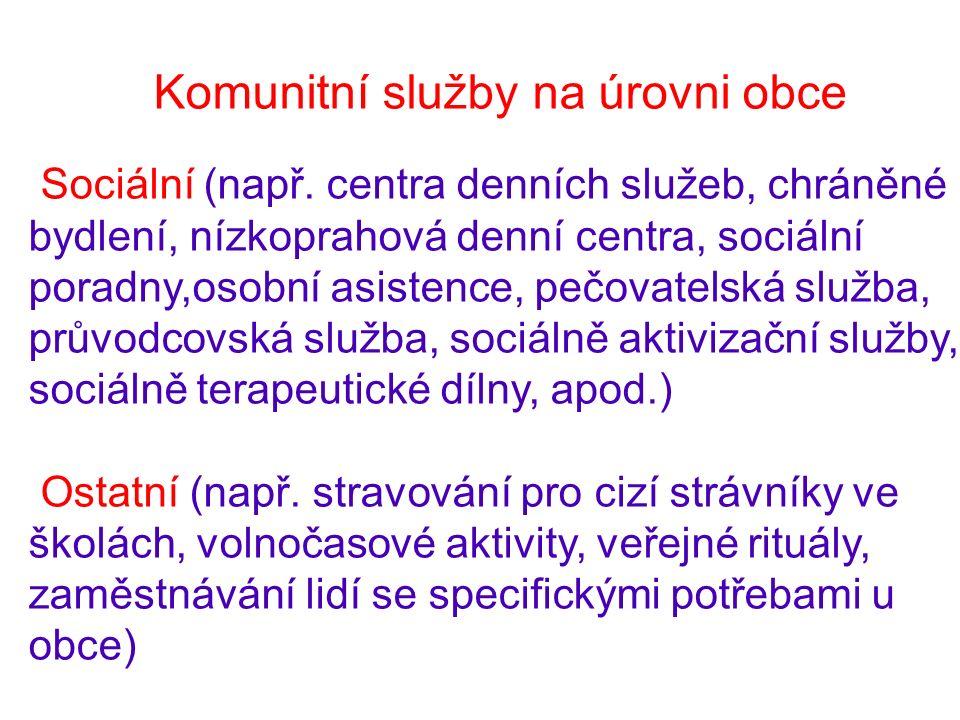 Komunitní služby na úrovni obce Sociální (např.