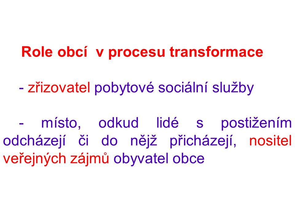 Role obcí v procesu transformace - zřizovatel pobytové sociální služby - místo, odkud lidé s postižením odcházejí či do nějž přicházejí, nositel veřejných zájmů obyvatel obce