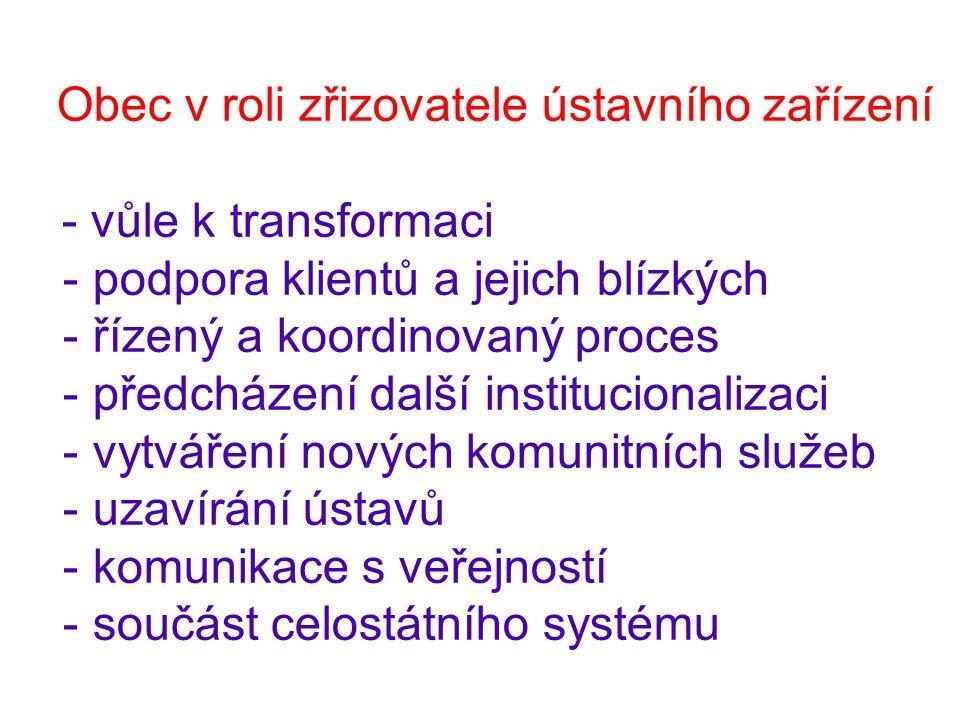 Obec v roli zřizovatele ústavního zařízení - vůle k transformaci - podpora klientů a jejich blízkých - řízený a koordinovaný proces - předcházení další institucionalizaci - vytváření nových komunitních služeb - uzavírání ústavů - komunikace s veřejností - součást celostátního systému
