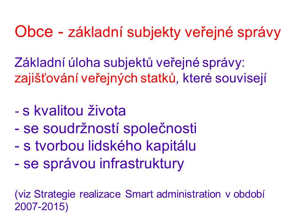 Obce - základní subjekty veřejné správy Základní úloha subjektů veřejné správy: zajišťování veřejných statků, které souvisejí - s kvalitou života - se soudržností společnosti - s tvorbou lidského kapitálu - se správou infrastruktury (viz Strategie realizace Smart administration v období 2007-2015)