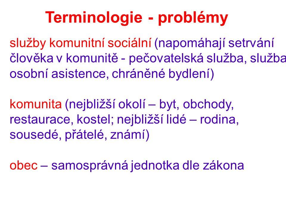 Terminologie - problémy služby komunitní sociální (napomáhají setrvání člověka v komunitě - pečovatelská služba, služba osobní asistence, chráněné bydlení) komunita (nejbližší okolí – byt, obchody, restaurace, kostel; nejbližší lidé – rodina, sousedé, přátelé, známí) obec – samosprávná jednotka dle zákona