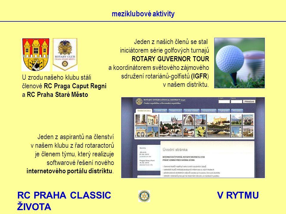 RC PRAHA CLASSIC V RYTMU ŽIVOTA meziklubové aktivity U zrodu našeho klubu stáli členové RC Praga Caput Regni a RC Praha Staré Město Jeden z našich čle