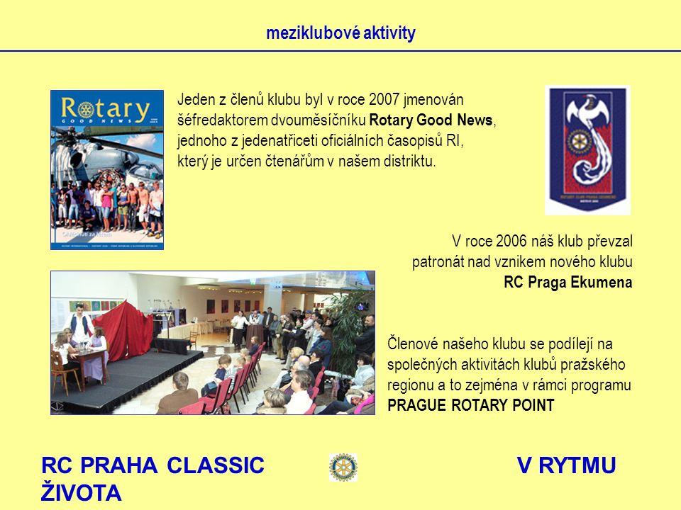 RC PRAHA CLASSIC V RYTMU ŽIVOTA meziklubové aktivity Jeden z členů klubu byl v roce 2007 jmenován šéfredaktorem dvouměsíčníku Rotary Good News, jednoho z jedenatřiceti oficiálních časopisů RI, který je určen čtenářům v našem distriktu.