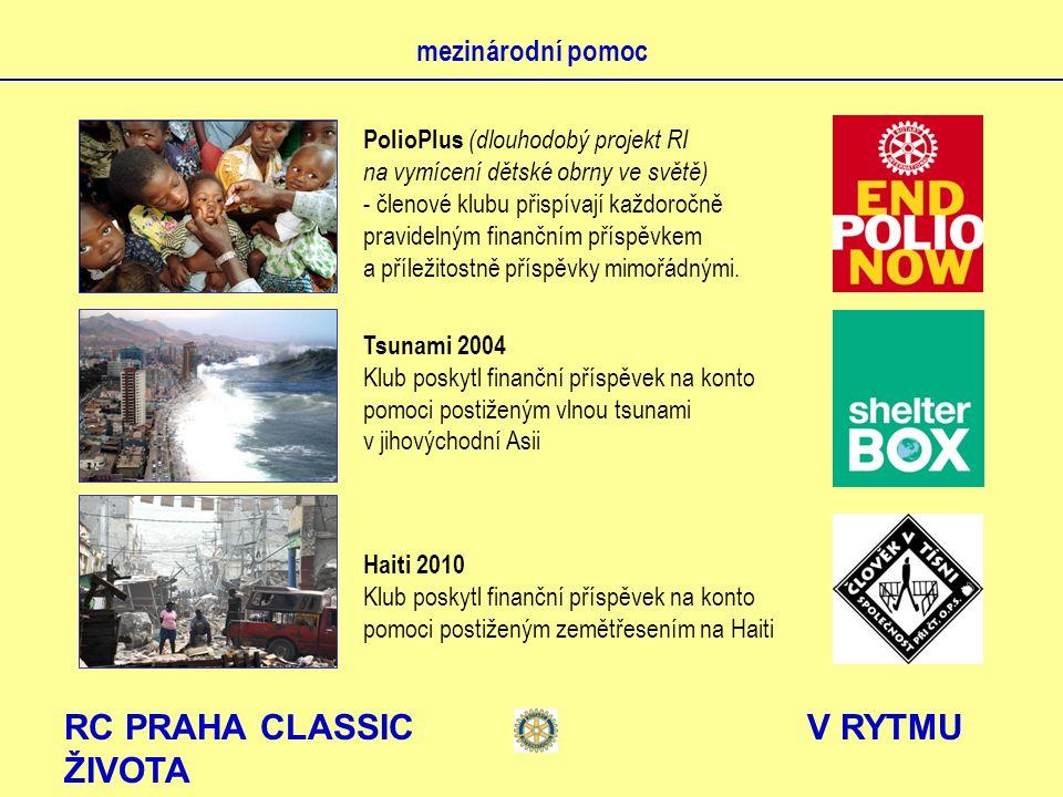 RC PRAHA CLASSIC V RYTMU ŽIVOTA mezinárodní pomoc PolioPlus (dlouhodobý projekt RI na vymícení dětské obrny ve světě) - členové klubu přispívají každoročně pravidelným finančním příspěvkem a příležitostně příspěvky mimořádnými.