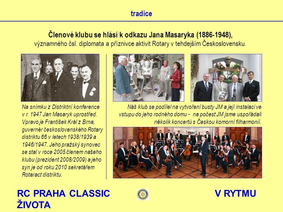 RC PRAHA CLASSIC V RYTMU ŽIVOTA tradice Členové klubu se hlásí k odkazu Jana Masaryka (1886-1948), významného čsl. diplomata a příznivce aktivit Rotar