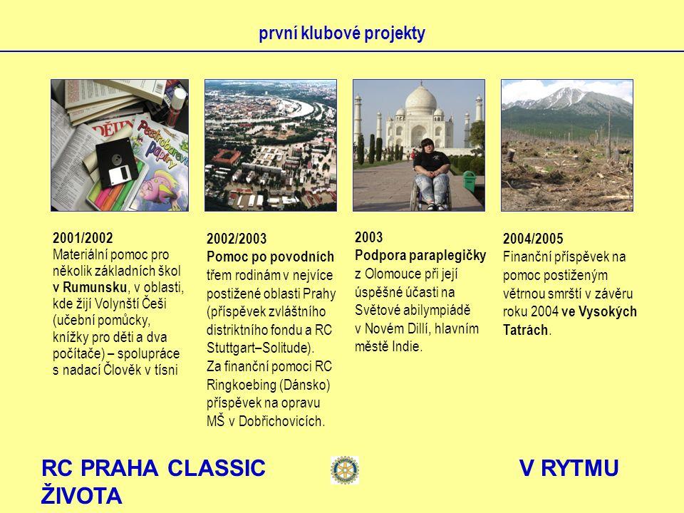 RC PRAHA CLASSIC V RYTMU ŽIVOTA první klubové projekty 2001/2002 Materiální pomoc pro několik základních škol v Rumunsku, v oblasti, kde žijí Volynští
