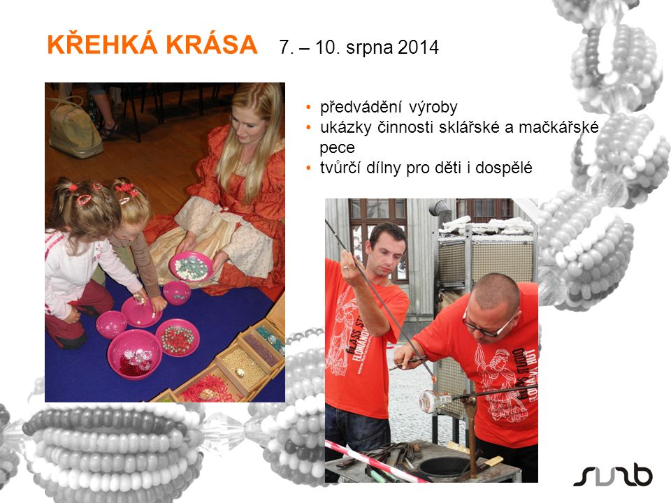 předvádění výroby ukázky činnosti sklářské a mačkářské pece tvůrčí dílny pro děti i dospělé KŘEHKÁ KRÁSA 7.