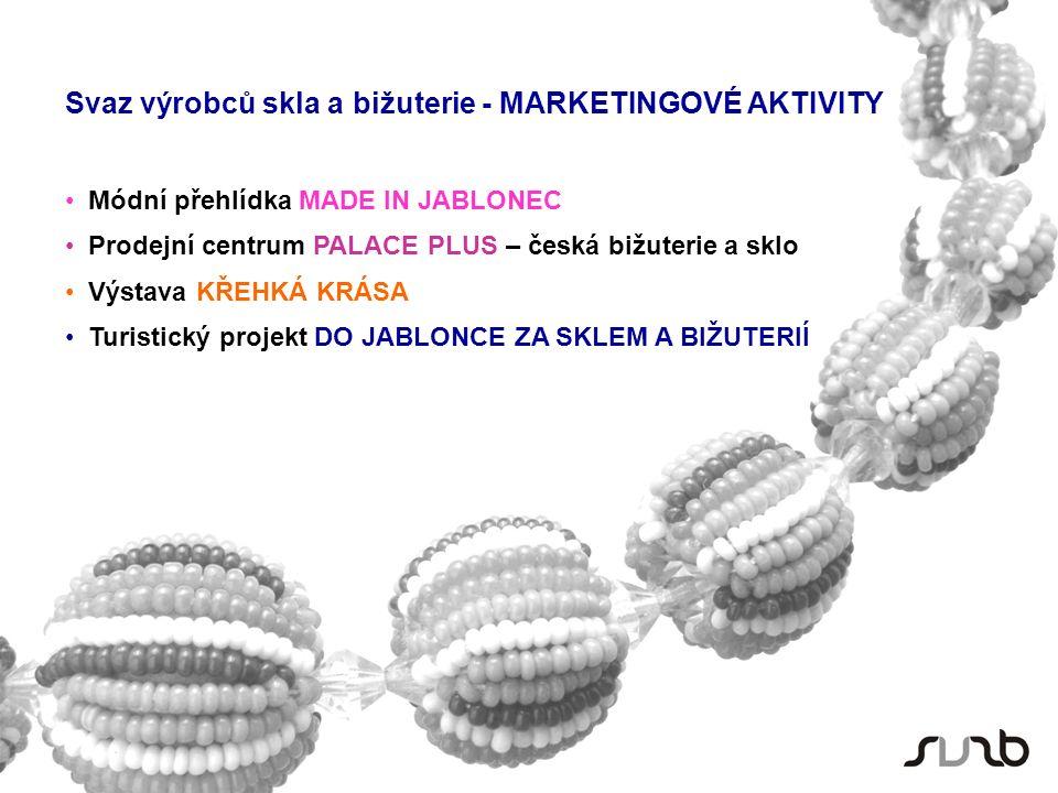 Svaz výrobců skla a bižuterie - MARKETINGOVÉ AKTIVITY Módní přehlídka MADE IN JABLONEC Prodejní centrum PALACE PLUS – česká bižuterie a sklo Výstava KŘEHKÁ KRÁSA Turistický projekt DO JABLONCE ZA SKLEM A BIŽUTERIÍ