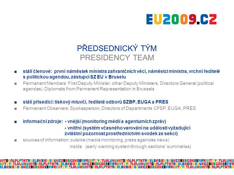 PŘEDSEDNICKÝ TÝM PRESIDENCY TEAM ■stálí členové: první náměstek ministra zahraničních věcí, náměstci ministra, vrchní ředitelé s politickou agendou, zástupci SZ EU v Bruselu ■ Permanent Members: First Deputy Minister, other Deputy Ministers, Directors General (political agendas), Diplomats from Permanent Representation in Brussels ■ stálí přísedící: tiskový mluvčí, ředitelé odborů SZBP, EUGA a PRES ■ Permanent Observers: Spokesperson, Directors of Departments CFSP, EUGA, PRES ■informační zdroje: - vnější (monitoring médií a agenturních zpráv) - vnitřní (systém včasného varování na události vyžadující zvláštní pozornost prostřednictvím svodek ze sekcí) ■sources of information: outside (media monitoring, press agencies news) inside (early warning system through sections´ summaries)
