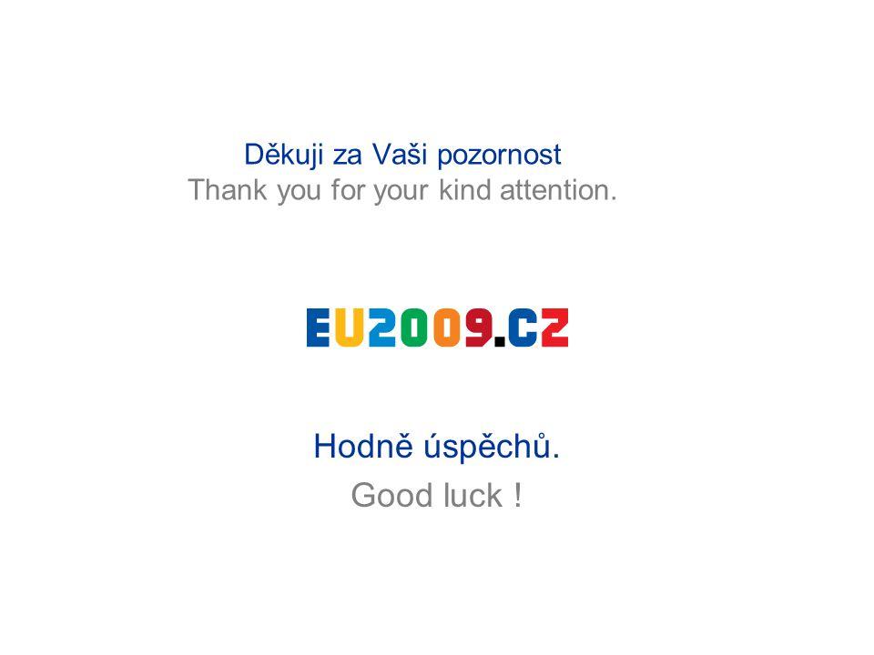 Děkuji za Vaši pozornost Thank you for your kind attention. Hodně úspěchů. Good luck !