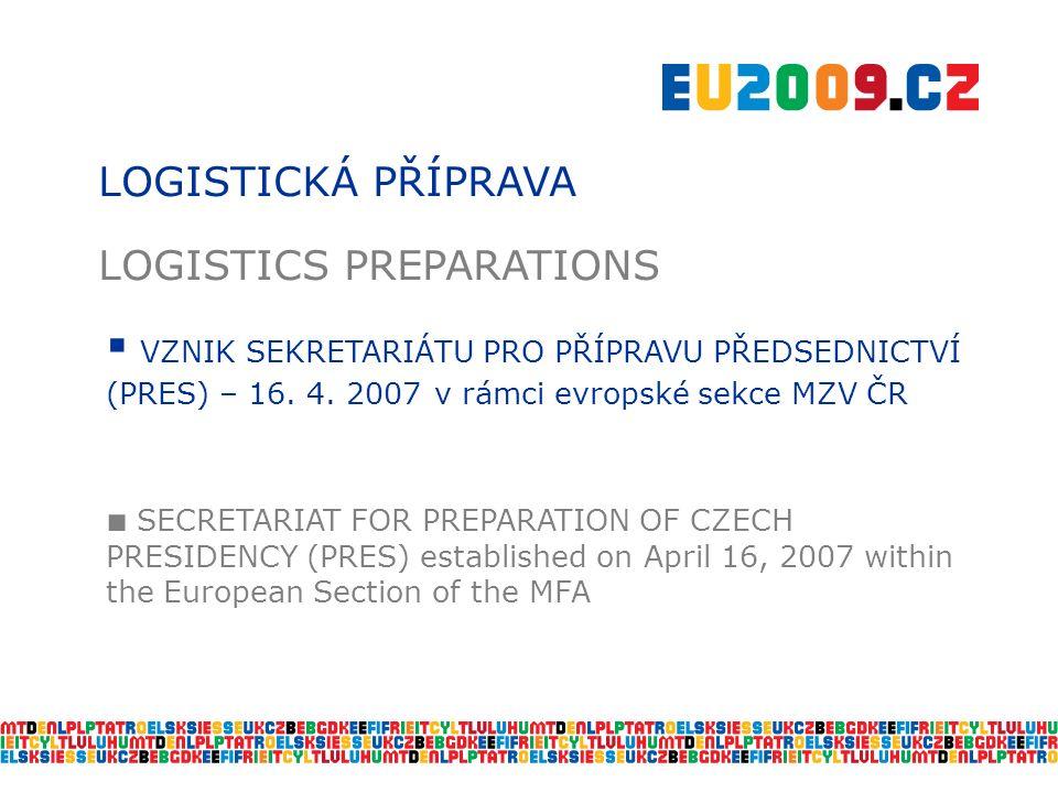 LOGISTICKÁ PŘÍPRAVA LOGISTICS PREPARATIONS  VZNIK SEKRETARIÁTU PRO PŘÍPRAVU PŘEDSEDNICTVÍ (PRES) – 16.