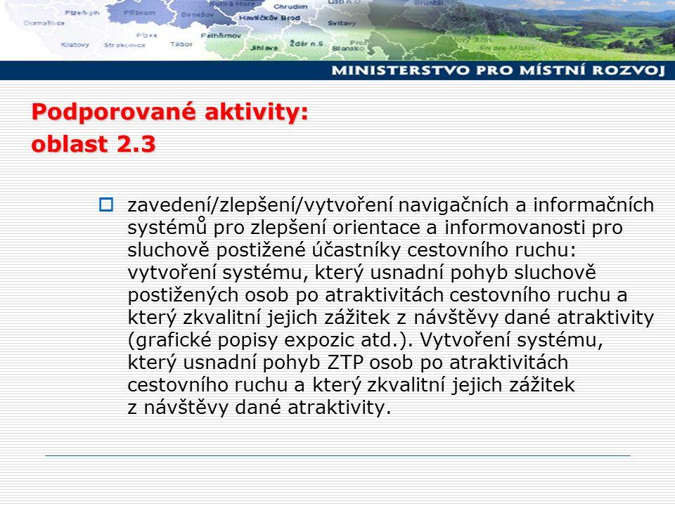 Podporované aktivity: oblast 2.3  zavedení/zlepšení/vytvoření navigačních a informačních systémů pro zlepšení orientace a informovanosti pro sluchově postižené účastníky cestovního ruchu: vytvoření systému, který usnadní pohyb sluchově postižených osob po atraktivitách cestovního ruchu a který zkvalitní jejich zážitek z návštěvy dané atraktivity (grafické popisy expozic atd.).